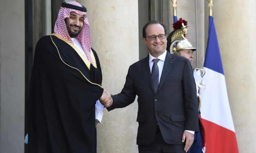 The French president, François Hollande, right, welcomes the Saudi defence minister, Prince Mohammed bin Salman, at the Elysée Palace in Paris in June.