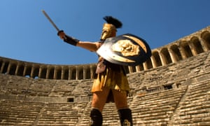 Roman soldier, historical reenactor, in the Theatre of Aspendos, Antalya, Turkey