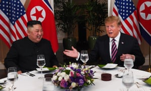 Kim Jong-un and Donald Trump sit down to dinner