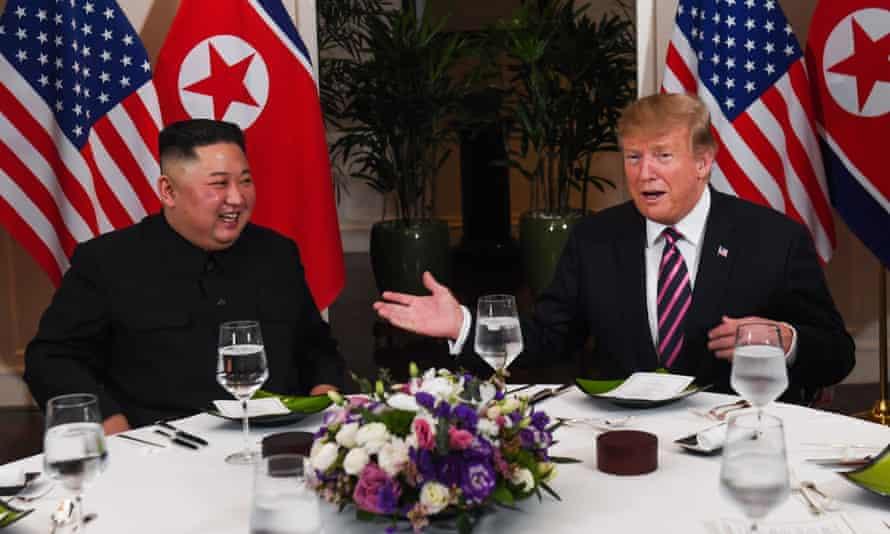 Kim Jong-un and Donald Trump sit down to dinner