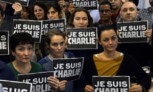Journalists hold placards reading 'I am Charlie'