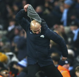 Manchester City's coach Pep Guardiola reacts during a match between Manchester City and Liverpool last week.