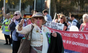 A London rally against raising the pension age for women
