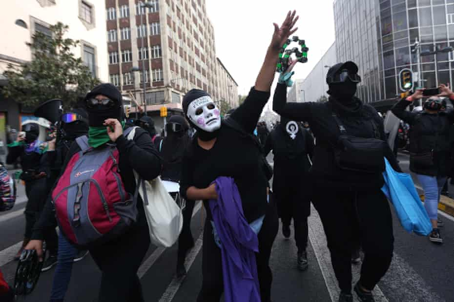 Feminist groups protest against Félix Salgado Macedonio during a march in Mexico City last week.
