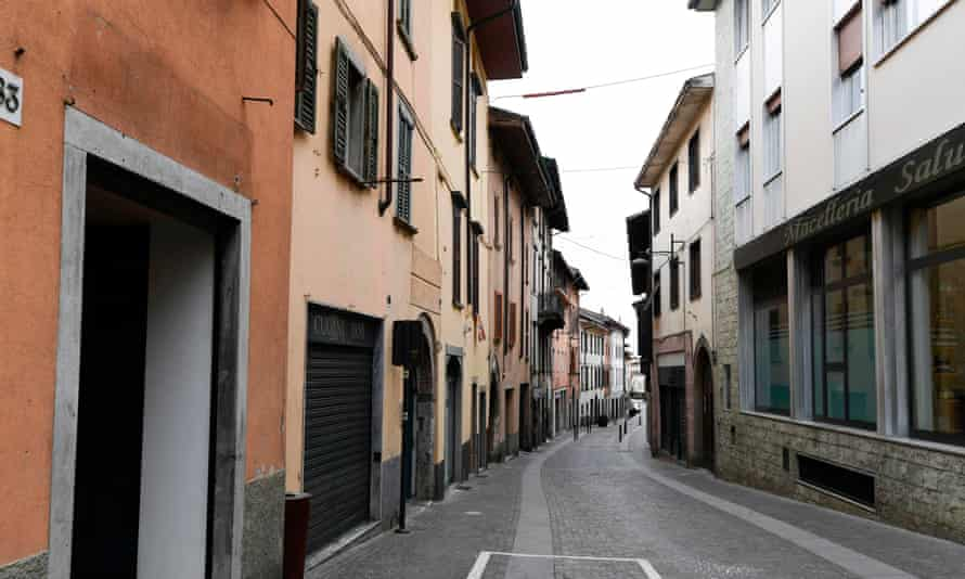 Deserted street near Bergamo, Lombardy, during the coronavirus lockdown in March 2020