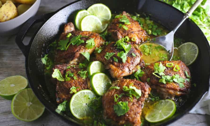 Chicken thighs with tequila and lime.