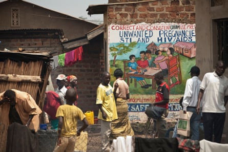 A poster in Kampala aimed at raising awareness about HIV and Aids, and sexually transmitted diseases.