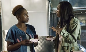 'They're having secret white meetings!' … Rae, left, with Yvonne Orji as Molly.