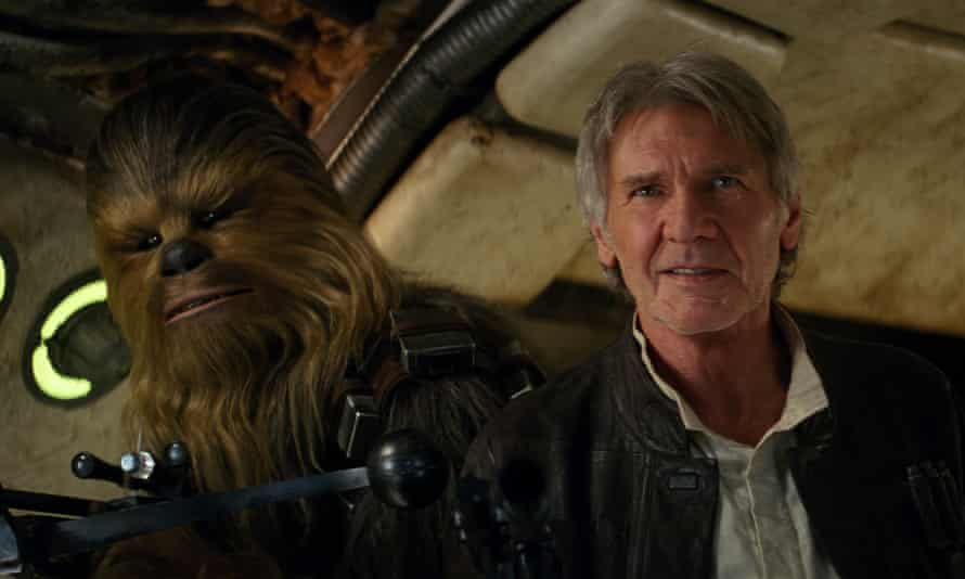 They're home, but our writer won't be: Chewbacca and Harrison Ford in Star Wars: The Force Awakens.