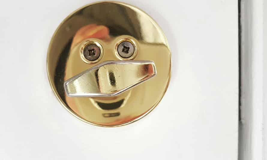 A door handle that looks like a face