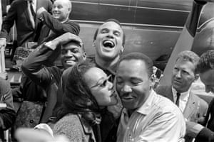 Harry Belafonte, centre, pictured with Martin Luther and Coretta Scott King.
