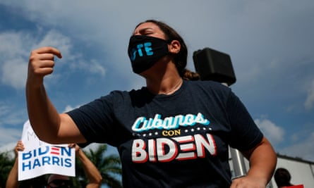 A Joe Biden shouts as she attends a rally outside the 'Latinos for Trump Roundtable' event in Doral, Florida, last month.