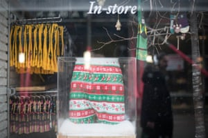 A shop on Carnaby Street displays festive clothing