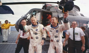 Jim Lovell (right) and Buzz Aldrin after their Gemini 12 flight, 1966.