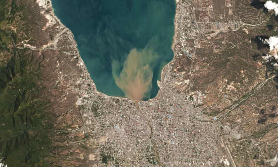 A satellite image shows Palu, Indonesia on 1October