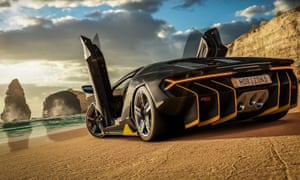 A Lamborghini on the beach in Forza Horizon 3. That is a real Australian sky in the background