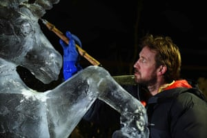 Darren Jackson's mythical creature will stand alongside other ice creations, including kings and woodland beasts