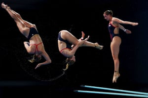 A multiple exposure shot of England's Katherine Torrance in action during the women's diving 3m springboard final
