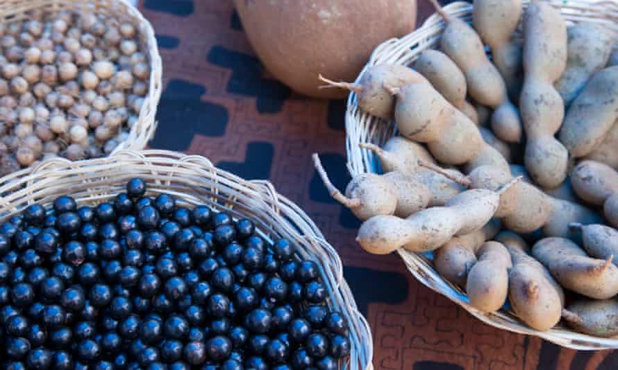 Açaí, tamarind and other sustainable rainforest products from Bolivia's Madidi National Park are sold at a street fair in La Paz's Calacoto neighborhood.