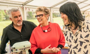 Prue Leith, pictured with fellow judge Paul Hollywood and GBBO presenter Noel Fielding