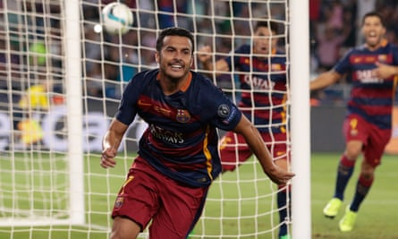 Barcelona's Pedro celebrates after scoring the extra-time winner against Sevilla in their 5-4 Super Cup victory.