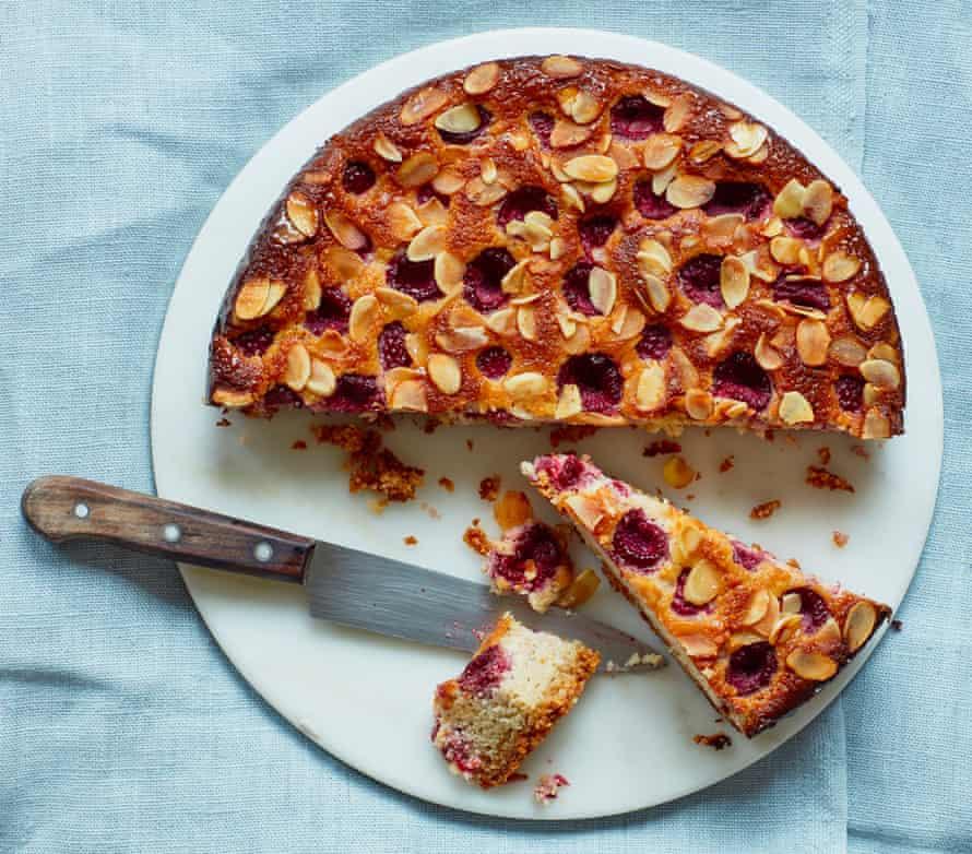 Thomasina Miers' raspberry, cardamom and almond cake.