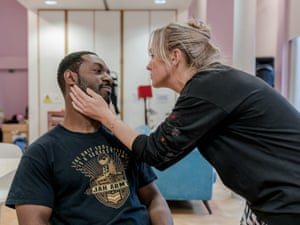Outside forces … Richie Campbell and Claire-Louise Cordwell rehearse A Kind of People at the Royal Court.