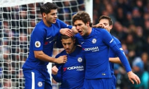 Eden Hazard is congratulated on scoring Chelsea's third goal – his second – from the penalty spot against Newcastle