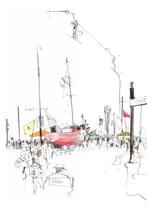 Extinction Rebellion, Oxford Circus, London, April 2019 drawing by George Butler.