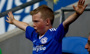 A young Cardiff fan enjoying the game against QPR.
