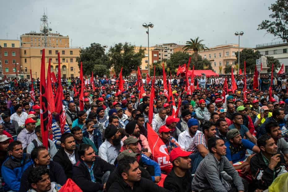 On 18 April, roughly 2,000 Sikh workers gathered in Freedom Square, in Italy's Latina province, to protest against their working conditions and request a minimum hourly wage of five euros
