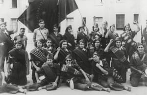 Members of a republican women's battalion in Madrid during the Spanish civil war.