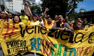Members of the Venezuelan opposition demand a referendum