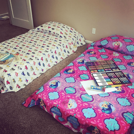 The children's beds in Christine's new apartment.