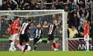 Longstaff of Newcastle United celebrates scoring.