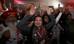 Supporters of Liberal Party leader Justin Trudeau cheer at his election night headquarters during Canada's federal election in Montreal