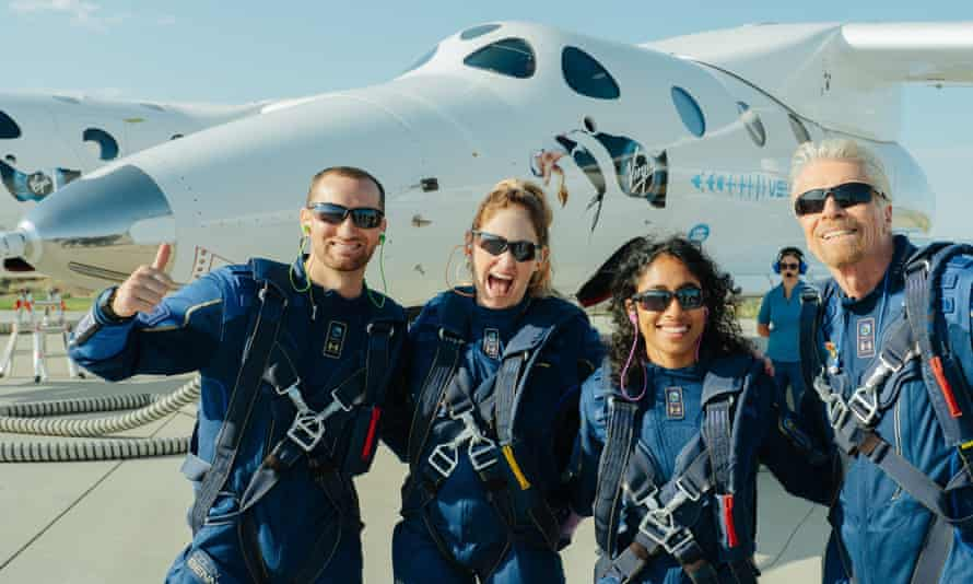 Richard Branson and crew possibly going into space.
