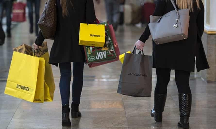 UK shoppers with Selfridges bags