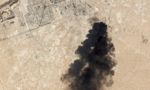 Satellite imagery shows smoke rising from Saudi Arabia's Abqaiq oil processing facility after drone attacks claimed by Yemen's Houthi rebels sparked huge fires on Saturday.