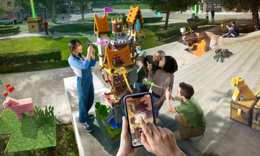 Minecraft Earth lets you construct models that can be viewed in real-world settings via a phone camera.
