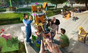 Something for everyone … Minecraft Earth in augmented reality action.