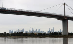 West Gate Bridge with the Melbourne skyline behind it