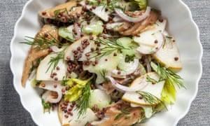 Mackerel, buckwheat and pear with mustard dressing.