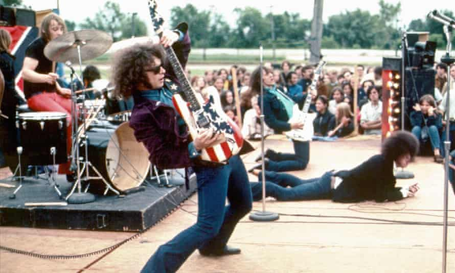 MC5 performing in 1969 – from left to right: Dennis 'Machine Gun' Thompson, Wayne Kramer, Fred 'Sonic' Smith and Rob Tyner.