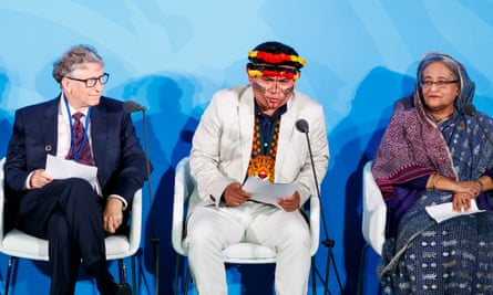 Bill Gates, Tuntiak Katan and Sheikh Hasina speak during the 2019 UN climate action summit in New York, New York, on 23 September.