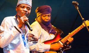 Tal National from Niger perform on stage at this year's Womad Festival