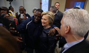 Hillary Clinton takes a selfie with supporters in Missouri.