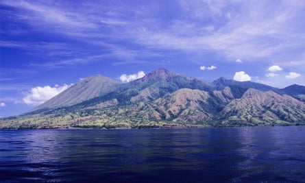 Komodo is a volcanic island in the Flores Sea.