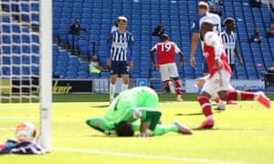 Nicolas Pepe celebrates scoring Arsenal's first goal