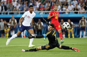 England have a rare chance when Marcus Rashford is played clean through down the middle. But Rashford curls his effort wide, with Thibaut Courtois getting a fingertip to it.